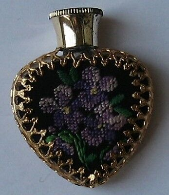 Vintage Miniature Embroidered Violets Perfume Scent Bottle