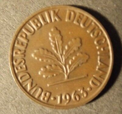 Germany 2 Pfennig Coin Dated 1963 G A Very Nice Coin
