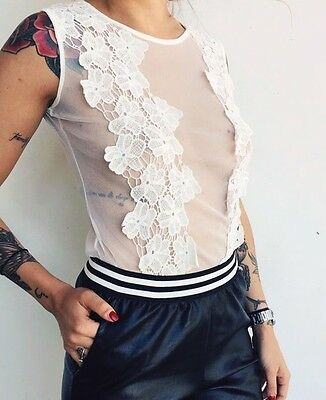 Body Canotta Top Crop T-shirt In Tulle Pizzo Lingerie Intimo