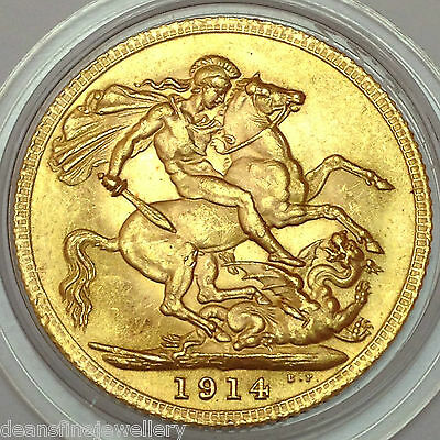 1914  Gold FULL Sovereign George V  LONDON  Mint *