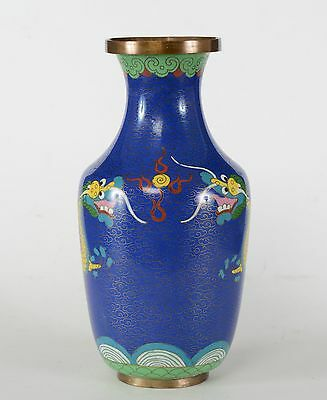 Fine Chinese Cloisonne Vase Dragons Chasing Flaming Pearl Over Ocean Waves