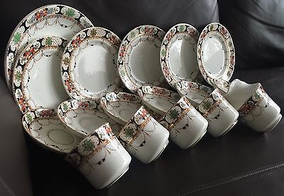 Superb Rare Antique 17 Piece Royal Vale Bone China Imari Pattern Tea & Cake Set