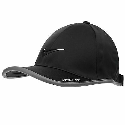 Nike Swoosh Baseball Cap Black Plain Storm Fit Golf Light  Fitted Peak Hat BNWT