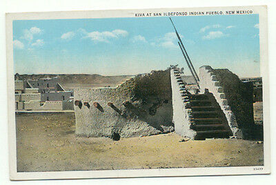 Kiva And Ildefonso Indian Pueblo NM Postcard - New Mexico