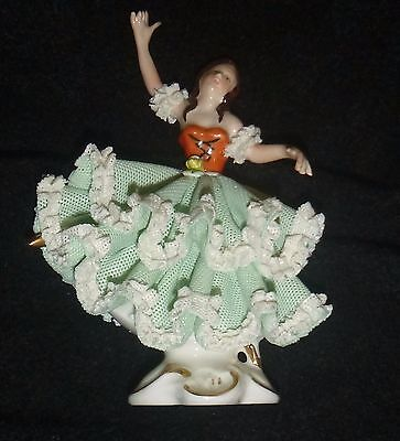 DRESDEN GREEN & WHITE LACE BALLERINA, DOLL, 80s, GERMANY
