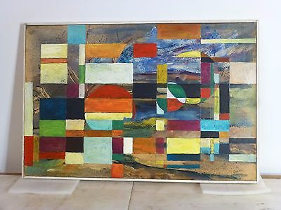Vintage GEOMETRIC ABSTRACT EXPRESSIONIST OIL PAINTING MID CENTURY MODERN Signed