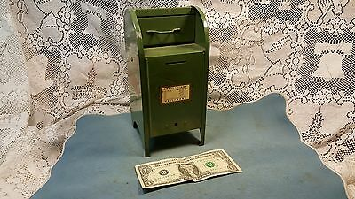 Vintage Mail Collection Box Bank All American US Postal Service Green