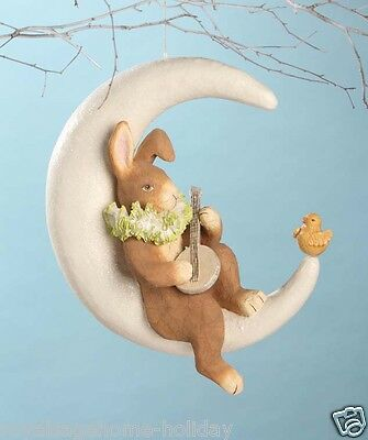 TJ5293 Bethany Lowe Moonlight Serendae Bunny on Crescent Moon Easter Decoration