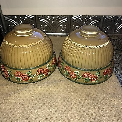 Lot Of Two GORGEOUS Vintage Puffy Reverse Painted  Glass Ceiling Lamp Shade