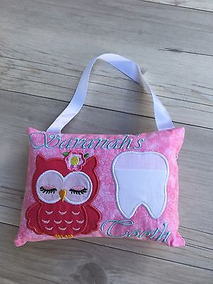 Personalised Owl Tooth Fairy Pillow Embroidered Lost Tooth Novelty Gift