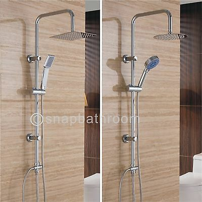 Large Chrome Dual Mixer Adjustable Thin Shower Heads Riser Kit Bathroom Set UK