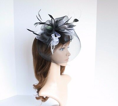 High Quality Kentucky Derby Wedding Polyester & Feather Fascinator Black 2406