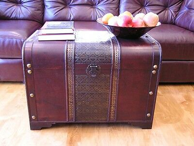 Vintage Wood Chest Treasures Toys Storage Old Fashioned Coffee Table Steam Punk