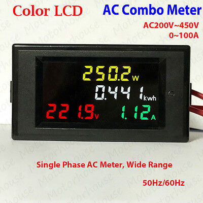 Color LCD AC200V~450V LED Voltmeter Panel Volt Amp Watt Combo Meter Single Phase