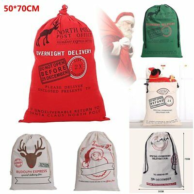 Large Canvas Hessian Christmas Santa Sack Xmas Stocking Reindeer Gifts Bag F#