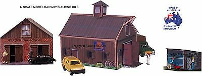 N Scale Barn, Chicken Coop & Shed Model Railway Building Kit - NOB2