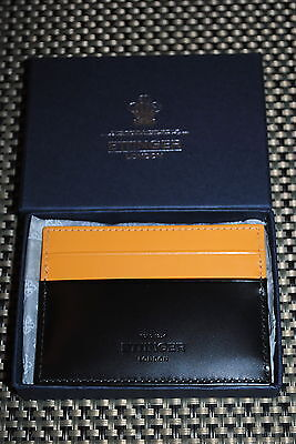 Ettinger Mens Designer Leather Flat Credit Card Case Black/tan Rp $195.00 Nib