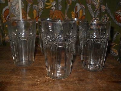 """Vintage Art Deco Arts and Crafts Style Tumbler Water Glasses. Set of 5 4.5"""" Tall"""