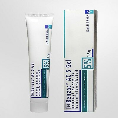 Benzac AC 5 Benzoyl Peroxide Water Based Gel for Acne Pimple Clear up Face 15g