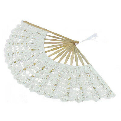 H433 Handmade Cotton Lace Folding Hand Fan for Party Bridal Wedding Decoration