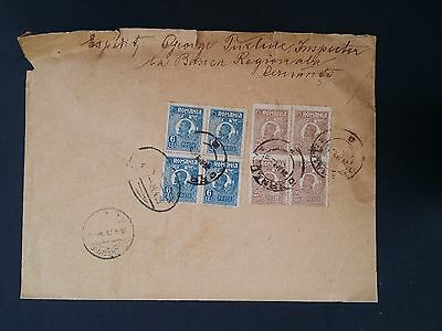 VERY RARE 1925 Romania Registered Cover ties 2 blocks x4 King Ferdinand I stamps