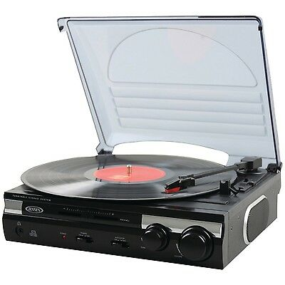 Jensen Record Player 3 Speed Turntable Transfer LP USB PC Mp3 CD Vinyl Recorder