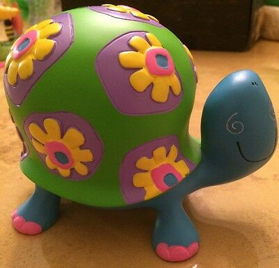 Cute Turtle Piggy Bank With Flowers