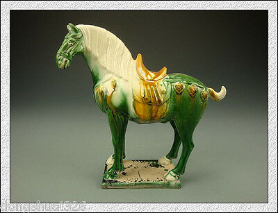 Rare Wonderful Collectible China Tang SanCai Green Glaze Pottery Horse Statue