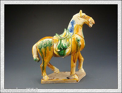 Rare Magnificent China Tang SanCai Glaze Pottery Horse Statue