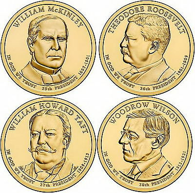 2013 (25th to 28th) US President - Four $1's Uncirculated Coin
