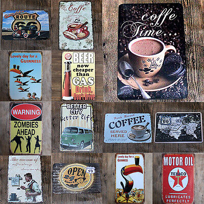 """Vintage Retro Metal Tin Sign Poster Plaque Wall Home Decor """"Coffee , Route 66"""""""