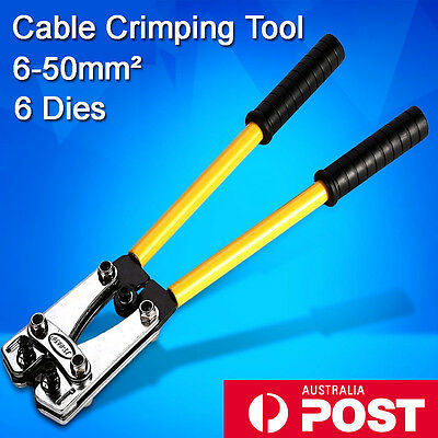 AU 6 - 50mm² Cable Crimper Crimping Electrical Rotate Tool Battery Lug 6 Dies