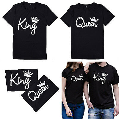 New Hot Couple T-Shirt King and Queen Lovers Love Matching Shirts Black Tops