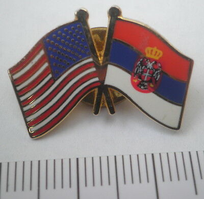 SERBIA and USA Crossed Friendship Flag Lapel Pin Badge,America pennant