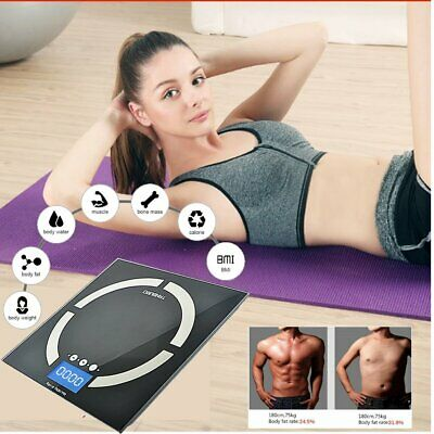 180Kg Personal Electronic Glass Body Bathroom Gym Weight Scales + Free Battery