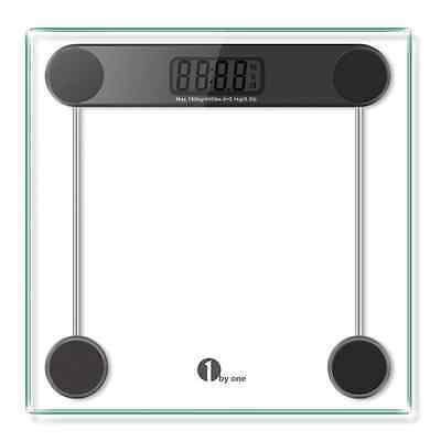 1byone Digital Body Weight Bathroom Scale Tempered Glass Step-on Technology