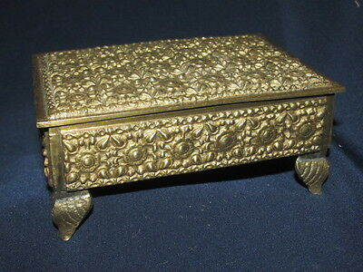 Vintage Footed Brass Trinket / Jewellery Box Ornate Roses Wood Lining 10CmW