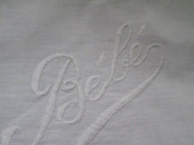 Antique  hand embroidered bib for dolls,from white linen/Bébé/France