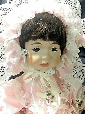 "Dynasty Collection Vintage Pink Lace Dress FAITH Girl 9"" Sitting Porcelain Doll"