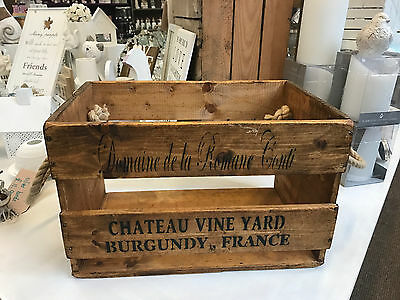 French Chateau Wooden Storage Trunk Old Display Box Wine Crate Vintage Large