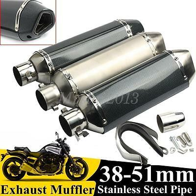 38-51mm Motorcycle Carbon Fiber Exhaust Muffler Pipe With Removable Silencer
