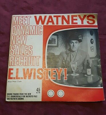 """Watneys E.L. Wistey 7"""" Advertising record Peter Cook 45rpm floppy record"""