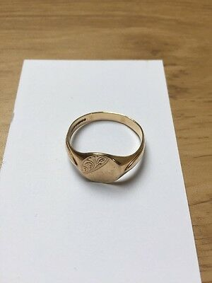 Men's 9ct Yellow Gold Vintage Oval Signet Ring