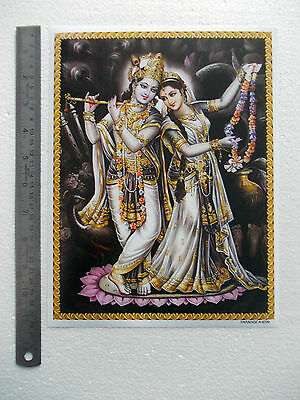 "Krishna Playing Flute, Radha Holding Mala - Normal Paper POSTER (9""x11"")"