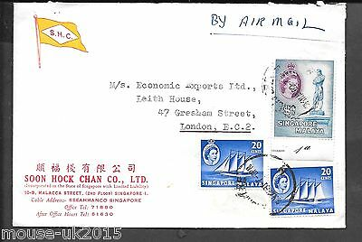 Malaya Singapore 1960 S.h.c Semi Illustrated Cover To Uk $1.40 Rate
