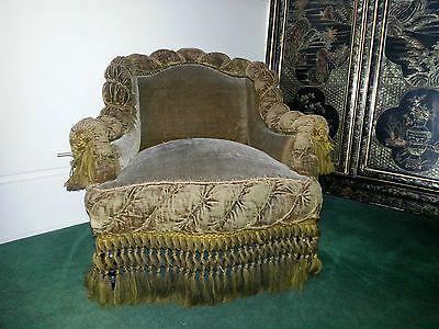 Pair Of Antique Gaufrage Armchairs With Tasselled Fringes