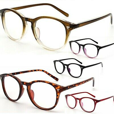 VTG Vintage Style Retro Clear Lens Oval Keyhole Plastic Frame Fashion Glasses
