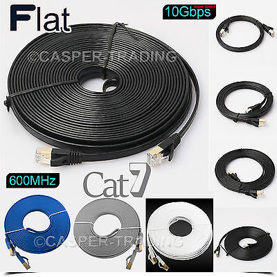 RJ45 Cat7 Flat Ethernet Gold Plated Ultra-thin 10Gbps SSTP Network LAN Cable Lot