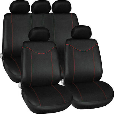 11 pcs Full Seat Cover Set Car Seat Cover Low Front Back Set Black + Red Edge BY