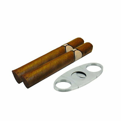 Pocket Stainless Steel Double Blade Cigar Cutter Knife Scissors Shears BY